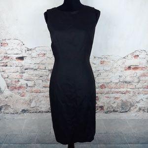 Talbots 8 Black Linen Sleeveless Career Dress